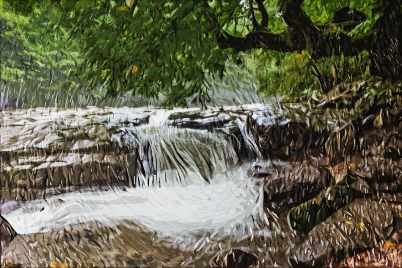 Pintura do impressionismo: Cachoeira foto de stock