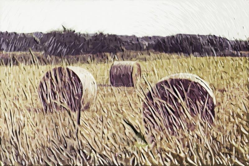 Pintura do impressionismo: Opinião do campo foto de stock royalty free