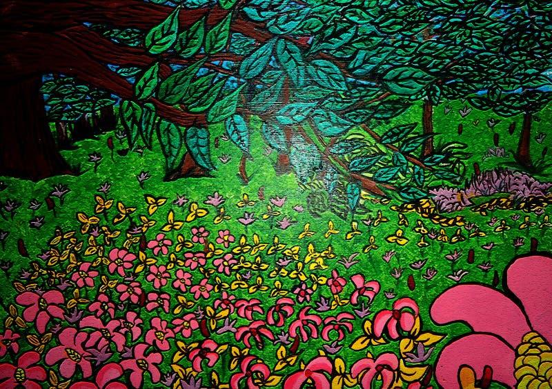 Pintura do jardim no projeto criado lona do fundo ilustração royalty free