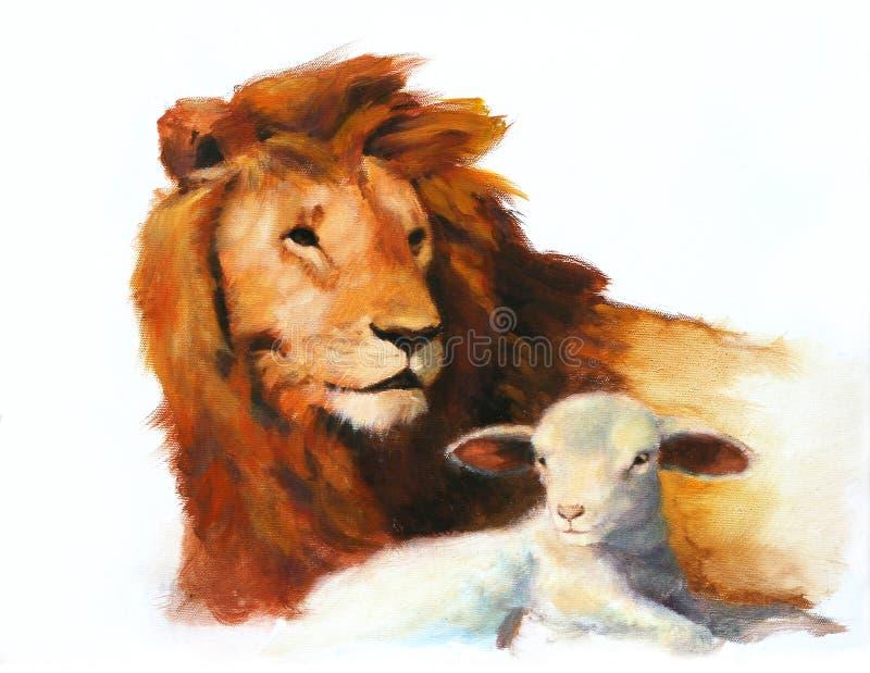 Pintura do leão & do cordeiro ilustração stock