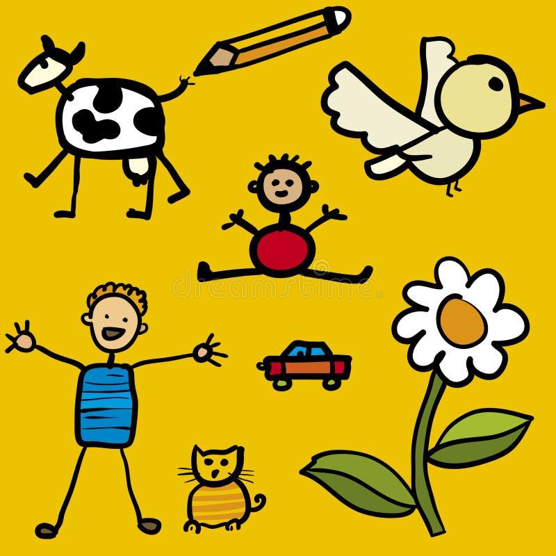 Pintura do miúdo (vetor) ilustração stock