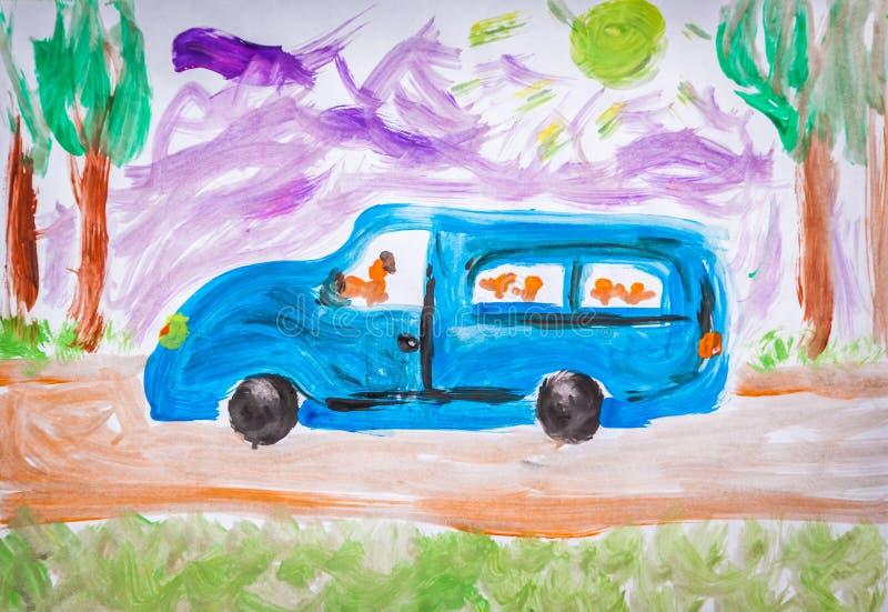 Pintura do ônibus escolar fotos de stock royalty free