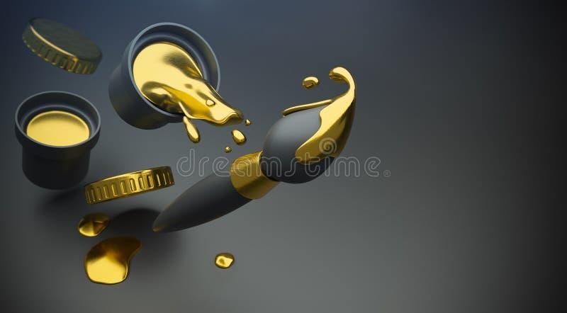 A pintura do ouro com espirram e a escova da arte ilustração stock