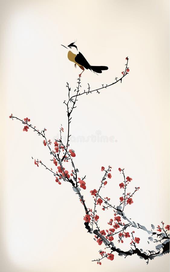 Pintura do pássaro ilustração stock