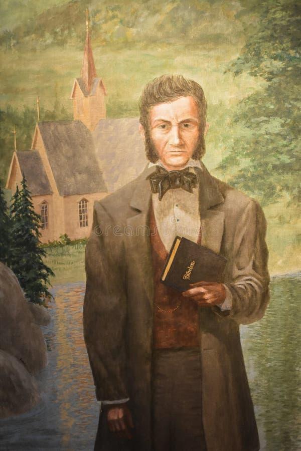 Pintura do pastor norueguês e da sua Bíblia fotografia de stock royalty free