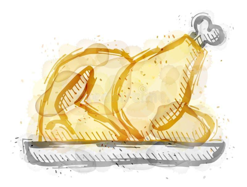 Pintura do peru do assado, galinha com efeito da aquarela ilustração stock