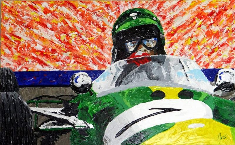 Pintura do piloto do Fórmula 1 do vintage imagens de stock royalty free