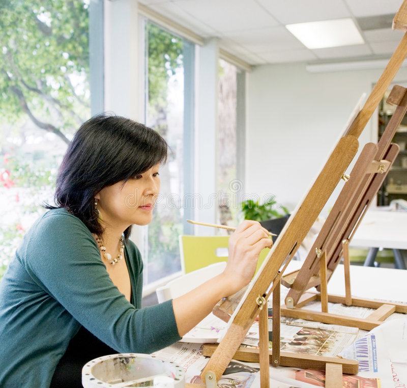 Pintura do professor de arte foto de stock royalty free