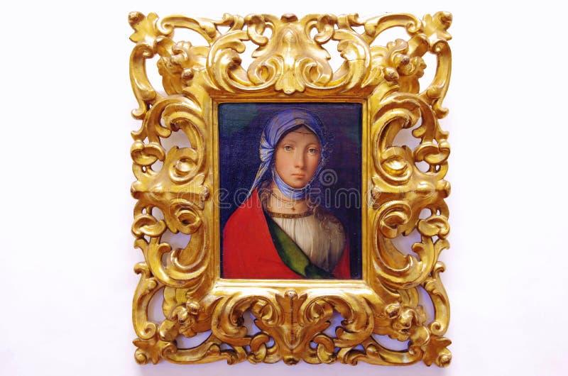 Pintura do retrato do óleo de uma menina foto de stock royalty free