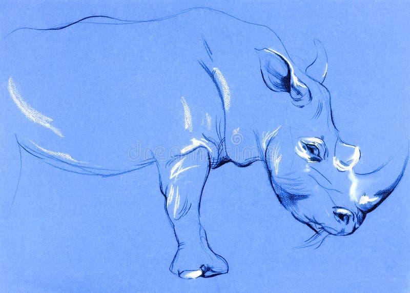 Pintura do rinoceronte ilustração royalty free
