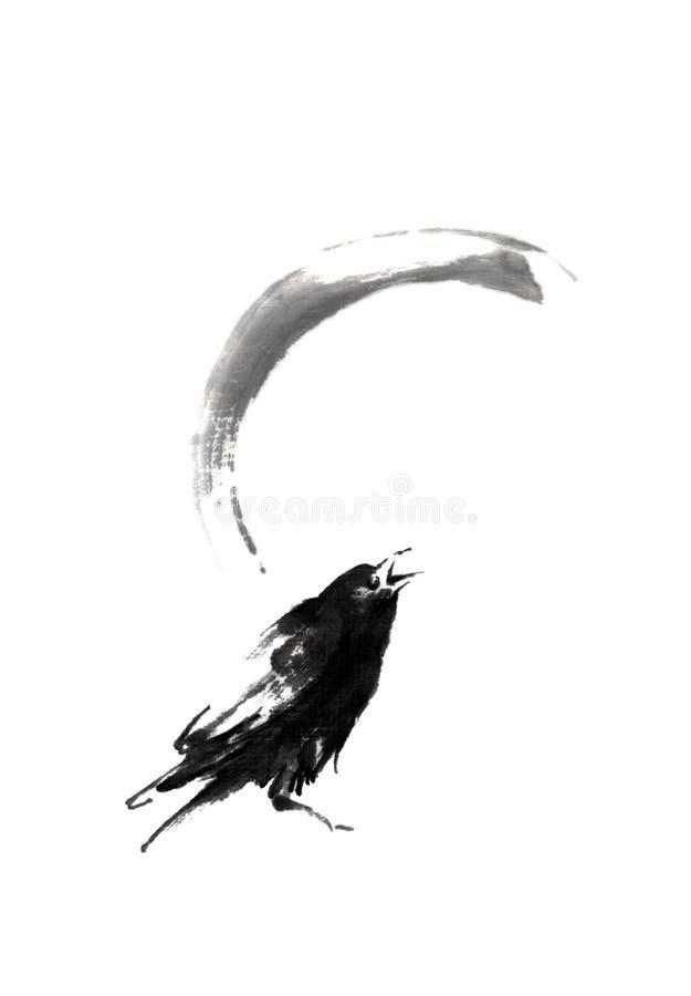 Pintura do sumi-e do estilo japonês com corvo e lua ilustração royalty free