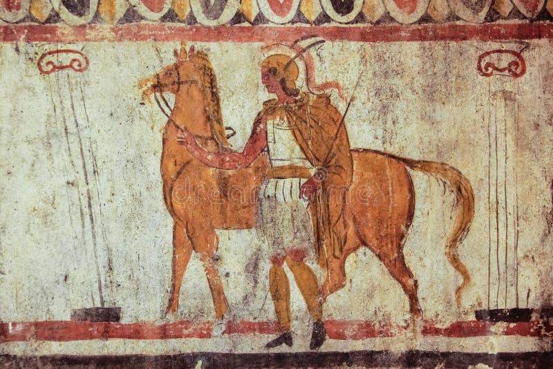 Pintura do túmulo do fresco de Lucanian Paestum salerno Campania Italy imagem de stock royalty free