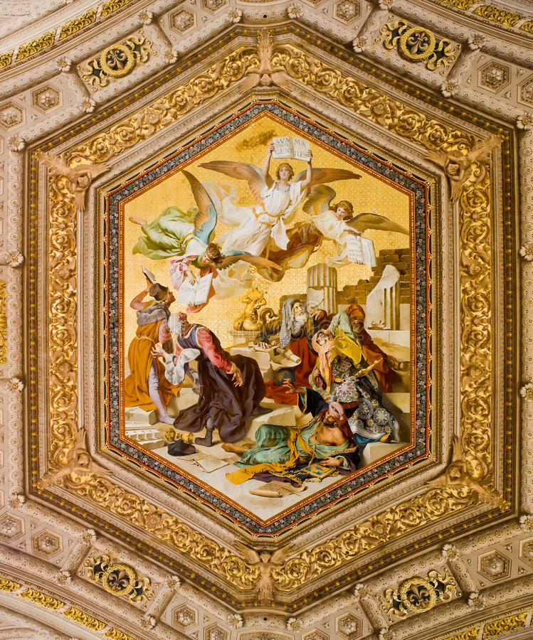Pintura do teto no Vatican fotografia de stock
