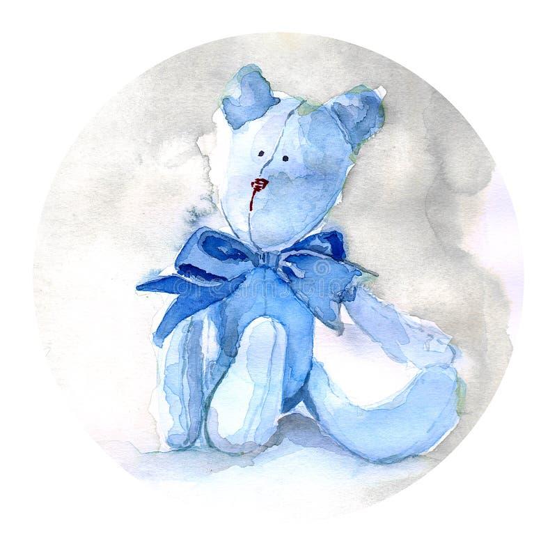 Pintura do urso de peluche da aquarela foto de stock royalty free