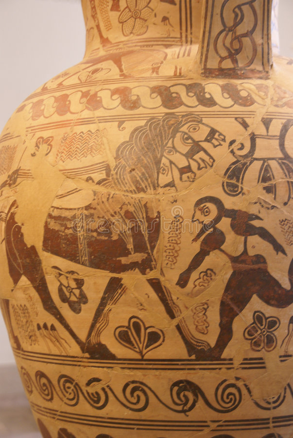 Pintura do vaso do grego clássico imagens de stock royalty free