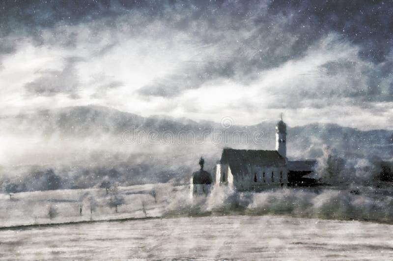 Pintura do vintage da paisagem do inverno fotografia de stock royalty free