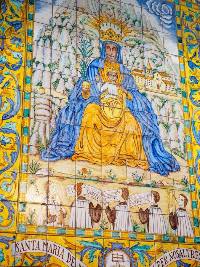Pintura do Virgin de Santa Maria e de Jesus, Barcelona, Spai fotos de stock