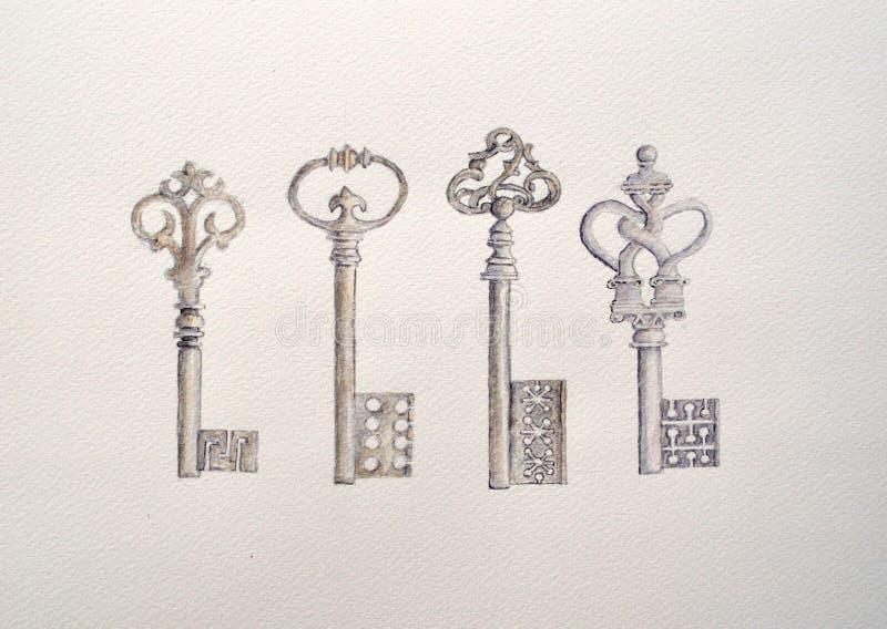 Pintura do Watercolour de quatro chaves antigas ilustração do vetor