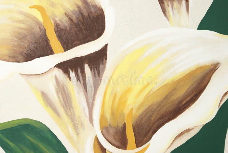 Pintura dos lírios de Calla fotografia de stock