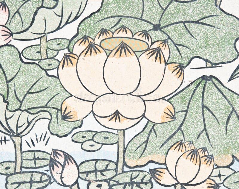Pintura dos lótus na parede chinesa do templo fotografia de stock royalty free