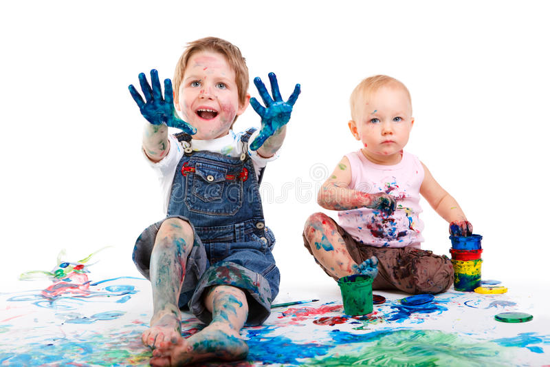 Pintura dos miúdos fotografia de stock royalty free