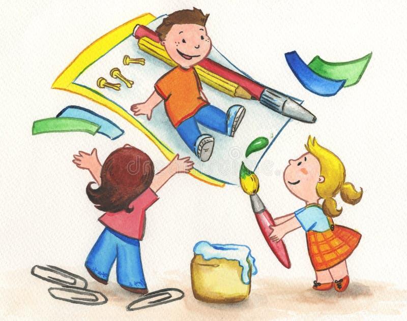 Pintura dos miúdos ilustração royalty free