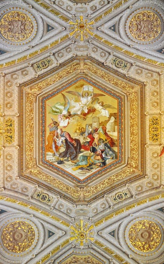 Pintura dos museus de Vatican de Gentiles contra do Summa de Tomás de Aquino imagem de stock