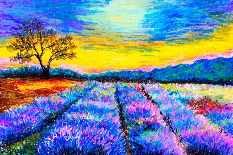 Pintura en colores pastel - campo de la lavanda en Provence, Francia stock de ilustración