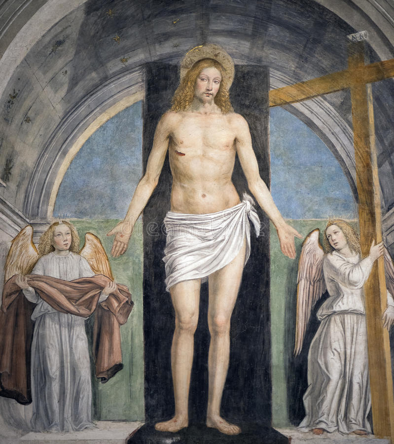 Pintura en la iglesia de Sant'Ambrogio (Milán) imagen de archivo