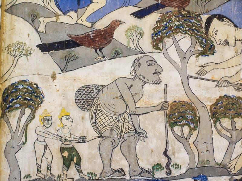 Pintura en la pared de la iglesia en el templo, el abou de la historia imagen de archivo libre de regalías