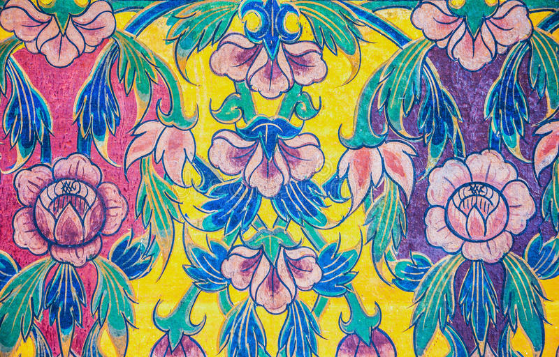Pintura en la pared, flor imágenes de archivo libres de regalías