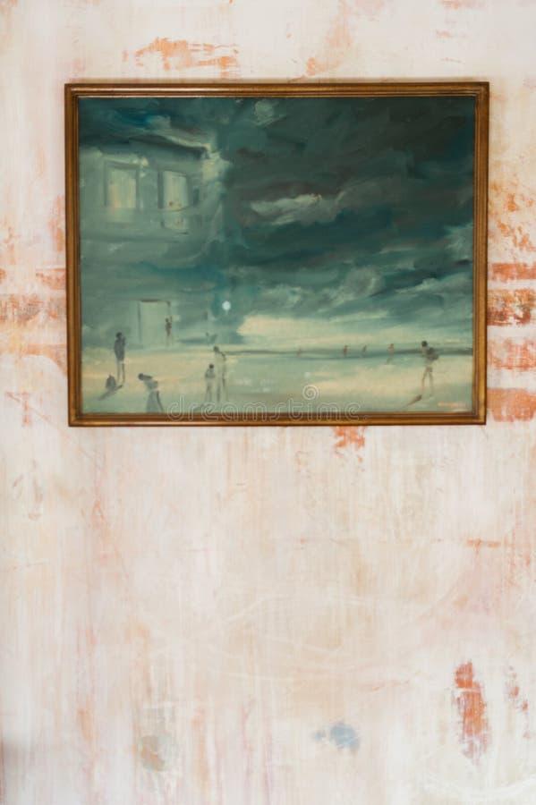 Pintura en la pared rústica imagenes de archivo