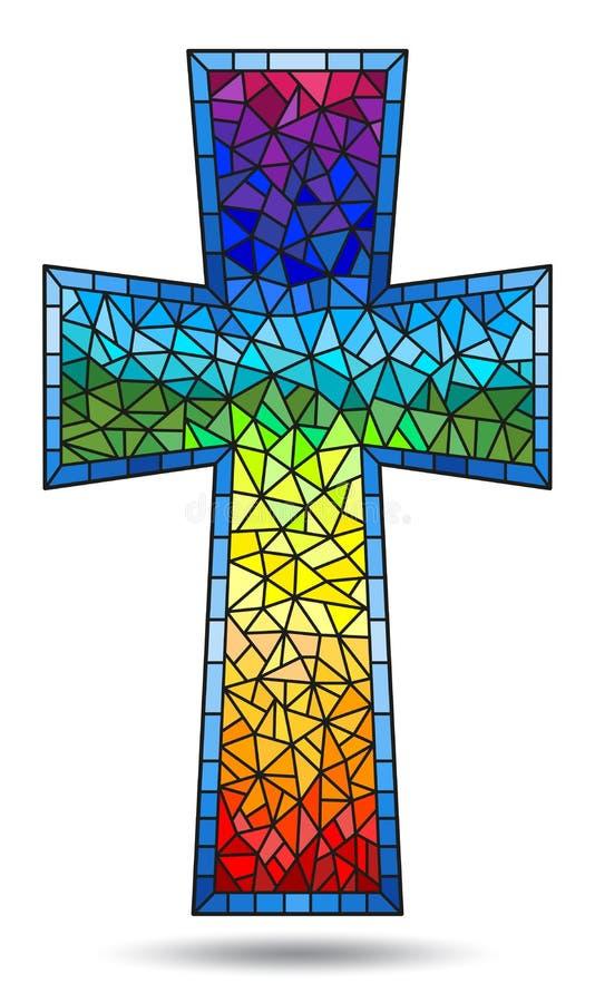 Pintura en temas religiosos, vitral del ejemplo del vitral en la forma de una cruz cristiana del arco iris, aislada ilustración del vector