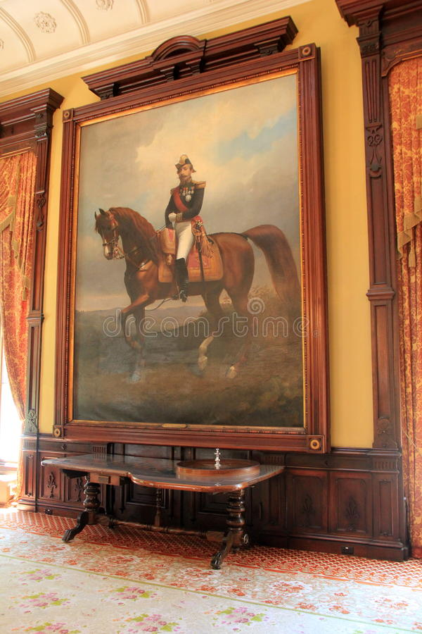 Pintura enmarcada grande del hombre en el caballo, salón de baile del casino de Canfield, Saratoga Springs, Nueva York, 2016 imágenes de archivo libres de regalías