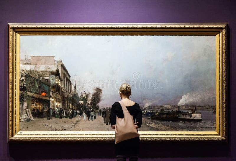 Pintura enorme no museu de belas artes de Montreal fotos de stock