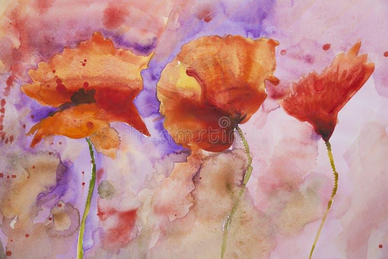 Pintura espirrada psicadélico do watercolour das papoilas ilustração stock
