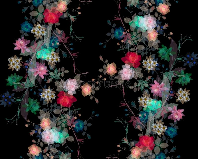 Pintura estilizada de la acuarela de la hoja y de flores en fondo negro libre illustration