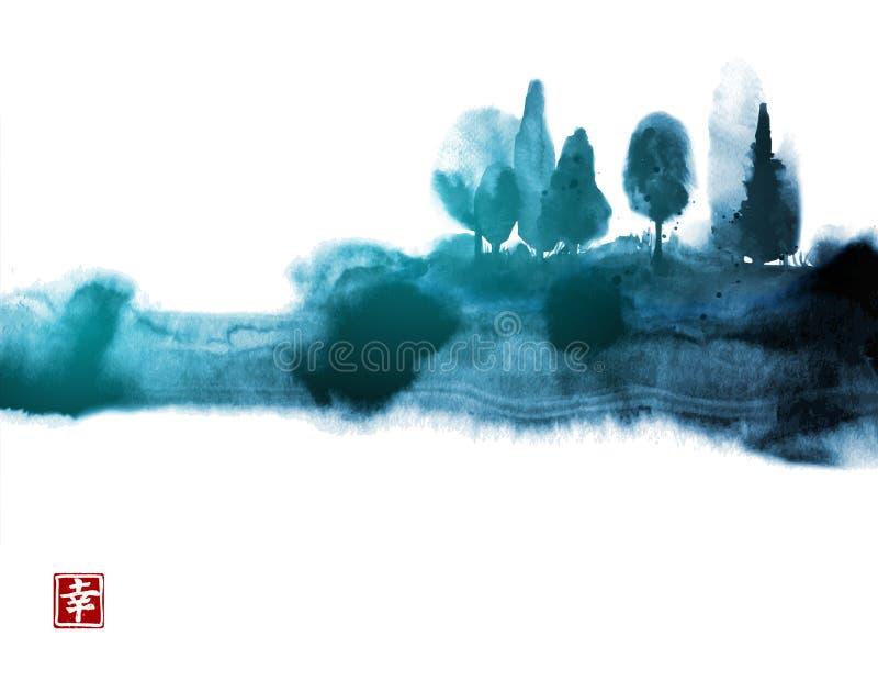 Pintura estilizada del lavado de la tinta con los árboles forestales brumosos azules Sumi-e oriental tradicional de la pintura de ilustración del vector
