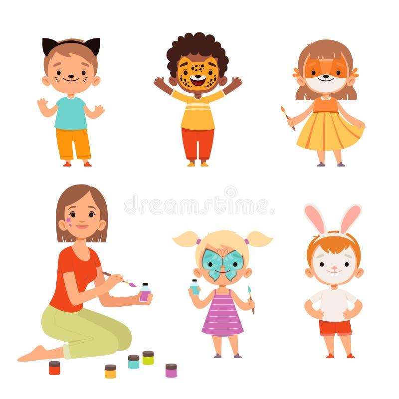Pintura facial Niños maquillan animales graciosos dibujos animados de niños y niñas maestros dibujando personajes portadores stock de ilustración