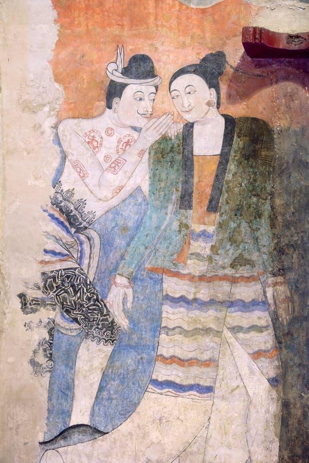 Pintura famosa da cor de água em Wat Phumin, província de Nan, Thaila ilustração stock