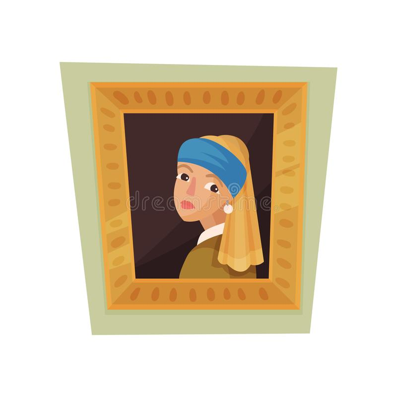 Pintura famosa de la muchacha con el pendiente de la perla y el pañuelo azul Objeto expuesto del museo Vector plano para el carte stock de ilustración