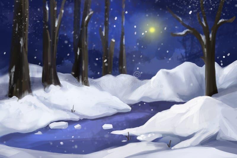 Pintura fantástica del estilo de la acuarela: Bosque de la nieve ilustración del vector