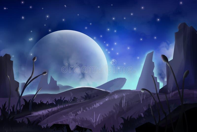Pintura fantástica del estilo de la acuarela: Montaña de la luna ilustración del vector