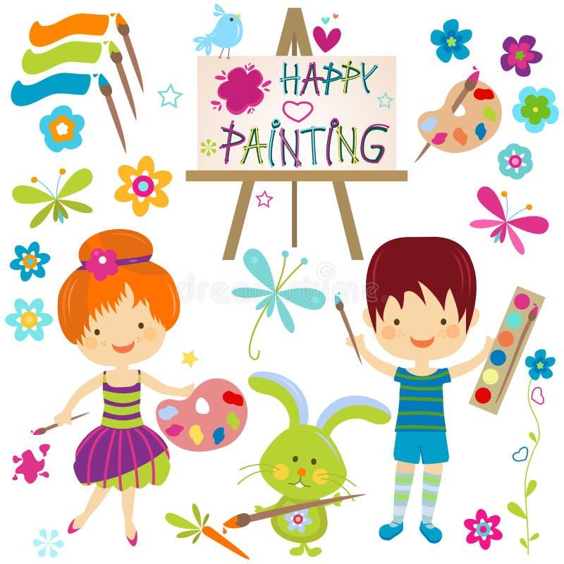 Pintura feliz ilustração stock