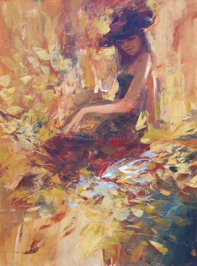 Pintura femenina, hecha a mano stock de ilustración
