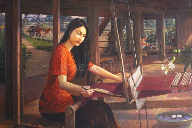 Pintura fina da senhora tradicional tailandesa que está tecendo o trabalho de confecção de malhas, imagem da atividade das mulher imagens de stock