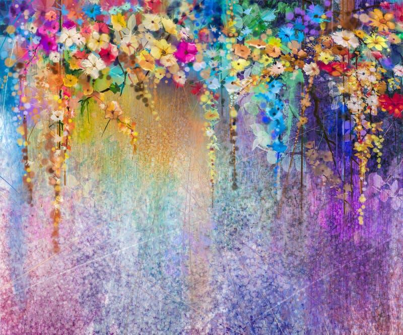 Pintura floral abstracta de la acuarela stock de ilustración