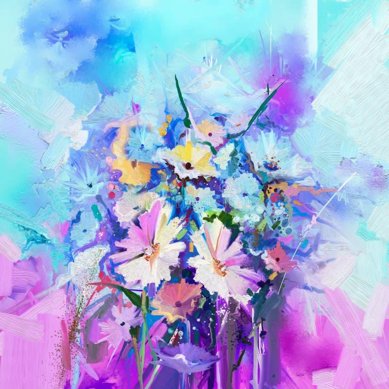 Pintura floral abstrata da cor de óleo Floresça pinturas no fundo verde da cor azul e vermelha ilustração do vetor