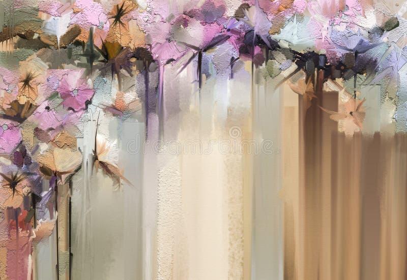 Pintura floral abstrata da cor de óleo Flores amarelas e vermelhas pintados à mão na cor macia Estilo do vintage das pinturas da  ilustração do vetor