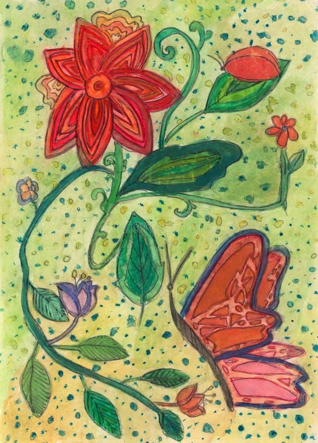 Pintura floral criada em 11 anos velho ilustração do vetor